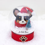 Black Tri-colored Santa Corgi with Tree Snow Globe