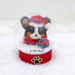 Black Tri-colored Santa Corgi with Wreath Snow Globe