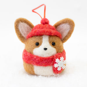 [PREORDER] Winter Corgi with Red Scarf and Beanie Ornament
