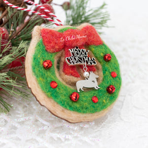 Wreath with Corgi Charm Cookie Ornament