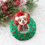 Santa on Wreath (with Swarovski Crystals) Ornament