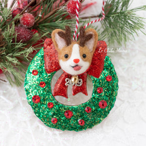Rudolph on Wreath (with Swarovski Crystals) Ornament