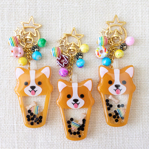 Boba Tea Corgi Liquid Shaker Charms