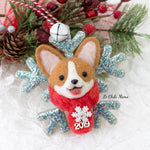 Winter Corgi Snowflake (with Swarovski Crystal) Ornament