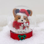 Red Santa Corgi with Mouse Ears and Mickey Snowman Snow Globe