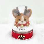 Red Rudolph Corgi with Jingle Bells Snow Globe