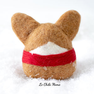 PREORDER Red Holiday Corgi with Scarf Ornament