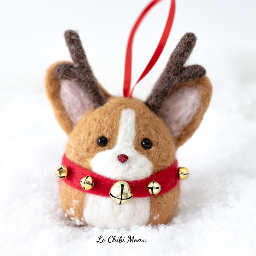 PREORDER Red Rudolph Corgi with Jingle Bells Ornament
