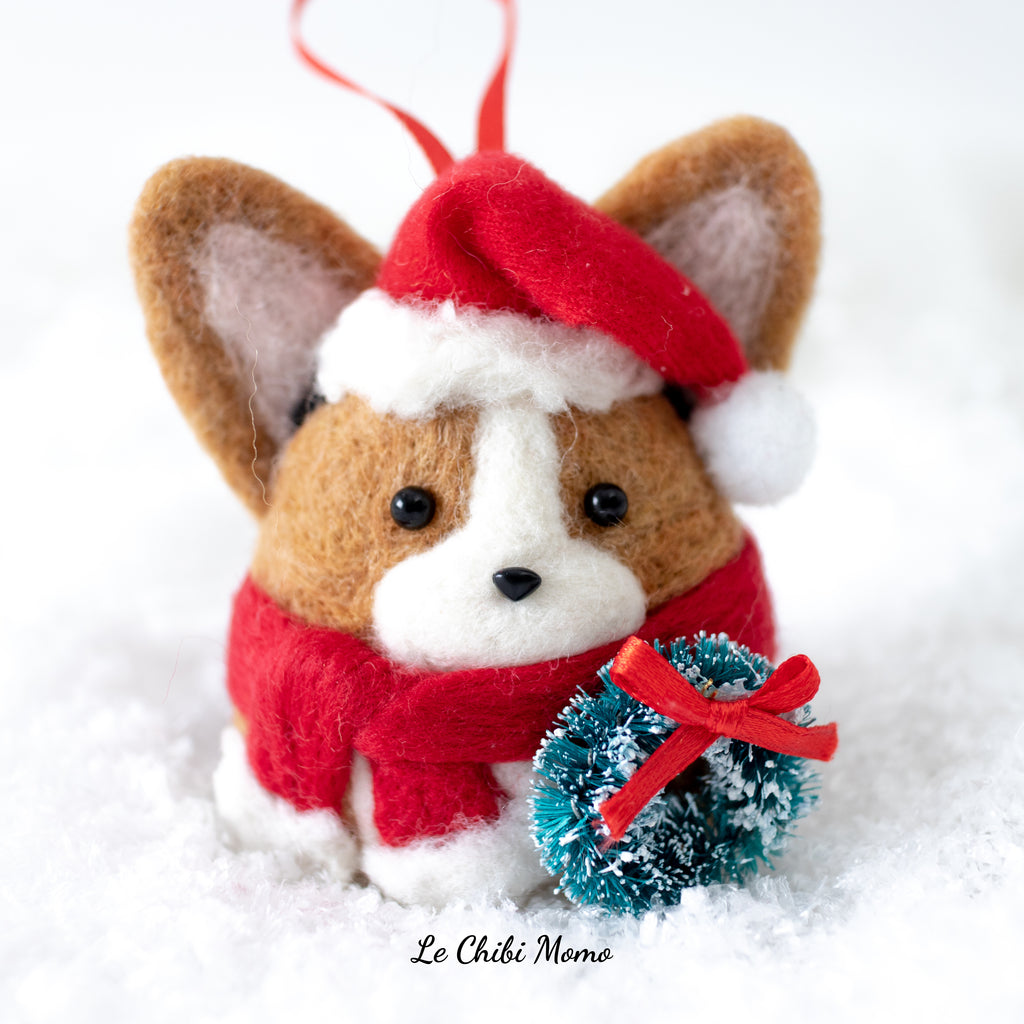 PREORDER Red/Black Head Tri-colored Santa Corgi with Wreath Ornament