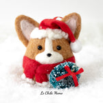 PREORDER Red Santa Corgi with Wreath  Ornament