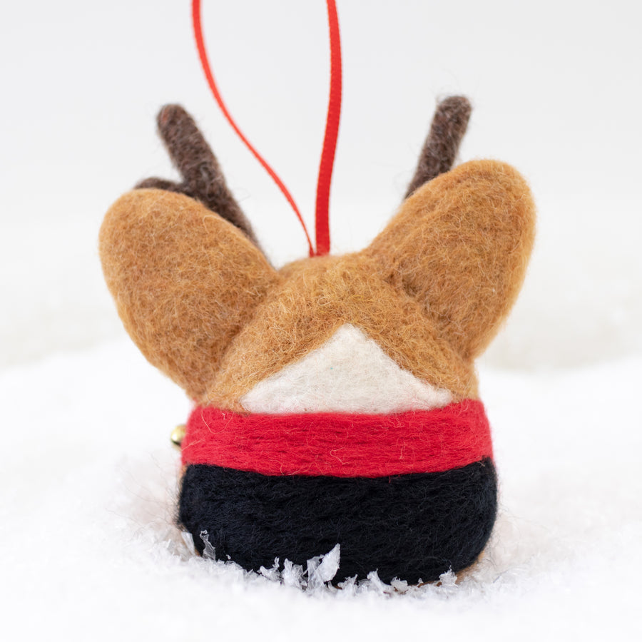 [PREORDER] Rudolph Corgi with Jingle Bells Ornament