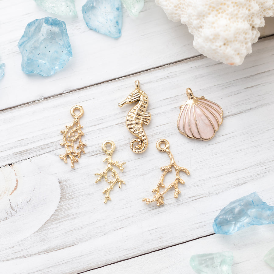 5 piece set | Coral Branches - Sea Horse - Clam Shell Charms | Summer Beach Accessory | DIY Jewelry