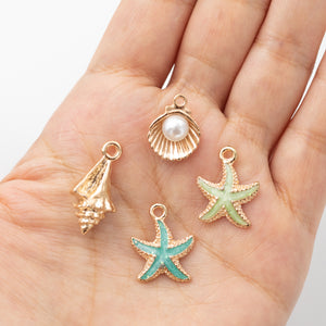 4 piece set | Conche Shell - Clam Shell with Pearl - Starfish Charms | Marine Life | Summer Beach Accessory | DIY Jewelry
