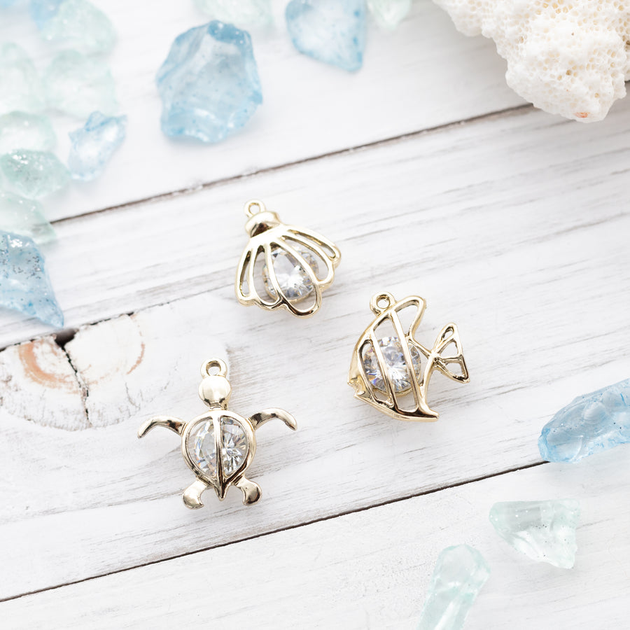 3 piece set | Butterfly Fish - Sea Turtle - Clam Shell Cubic Zirconia Charms | Marine Life | Summer Beach Accessory | Craft Supplies