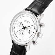Chronograph I White - Black Leather