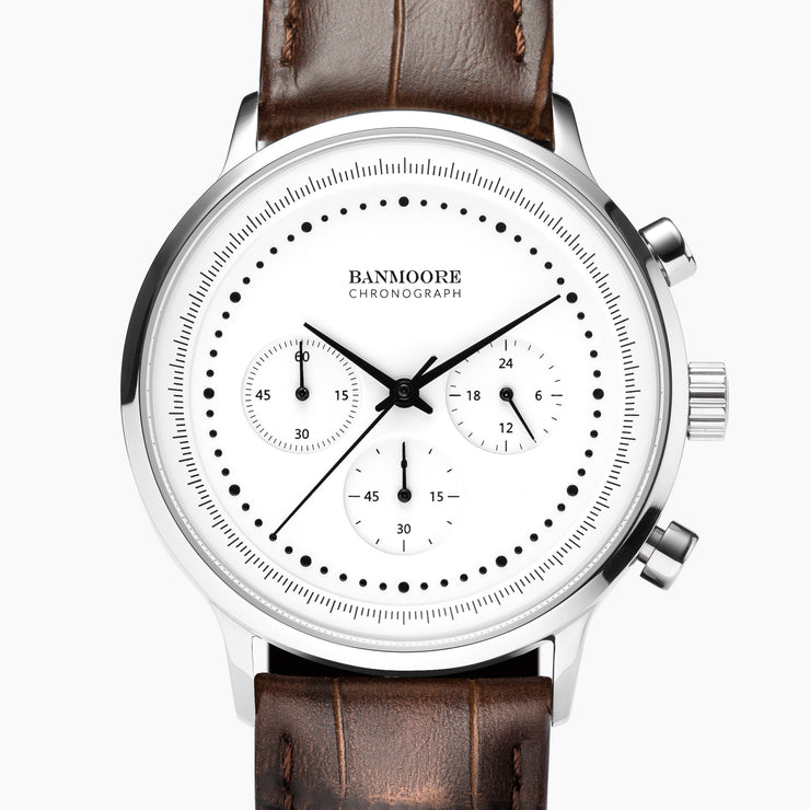 Chronograph I White - Brown Leather