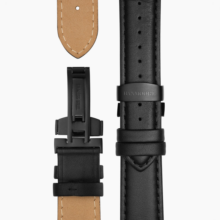 Black Leather Strap - Black Buckle