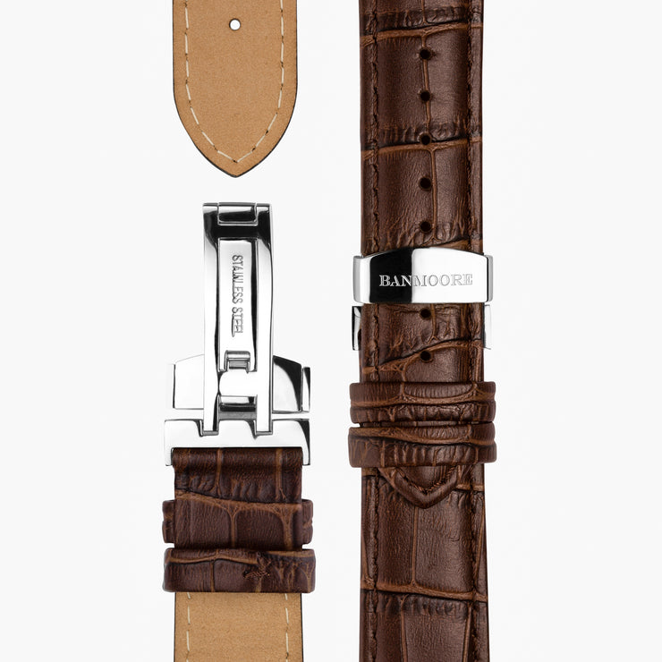 Brown Leather Strap - Silver Buckle