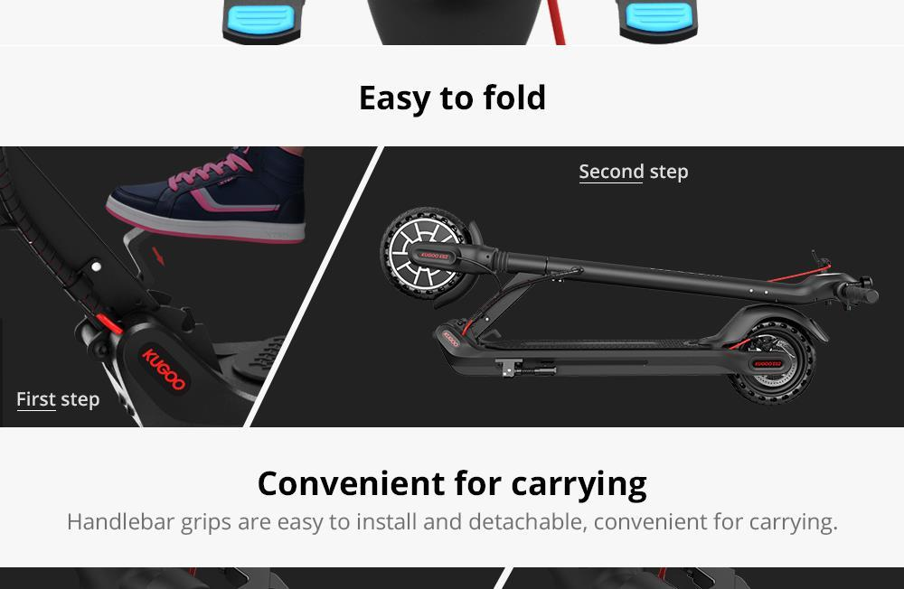 KUGOO ES2 Folding Electric Scooter - Black
