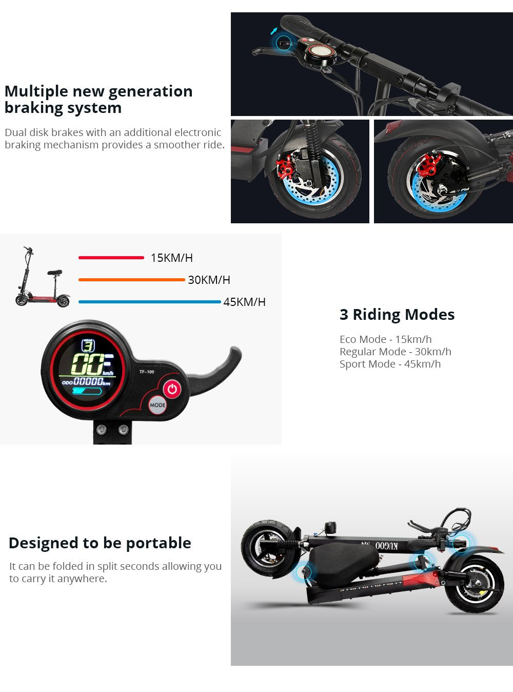 KUGOO KIRIN M4 10-inch Wheels Electric Scooter With Seat