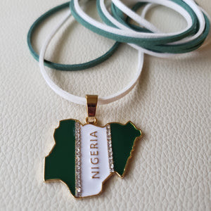 Nigeria Pendant Suede Necklace, Afrobeats Collection