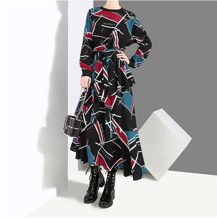 Asymmetric Print Dress, One Size (S to 2XL)
