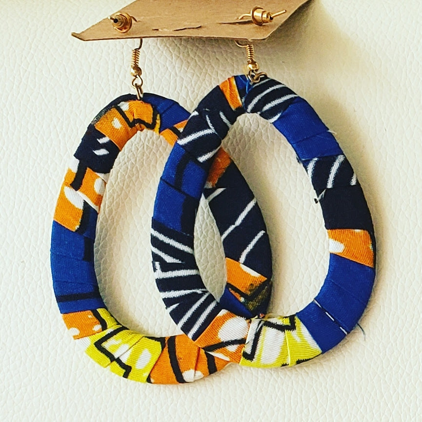 Earrings Made with Ankara, Oval