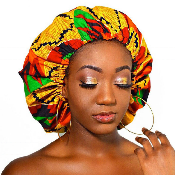 Large Satin Lined Ankara Bonnets, Afrobeats Collection