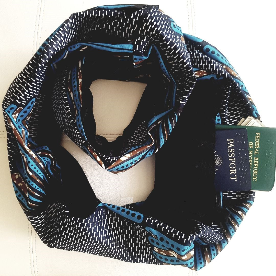 Ankara & Velvet Scarf with Zip Pocket, Afrobeats Collection