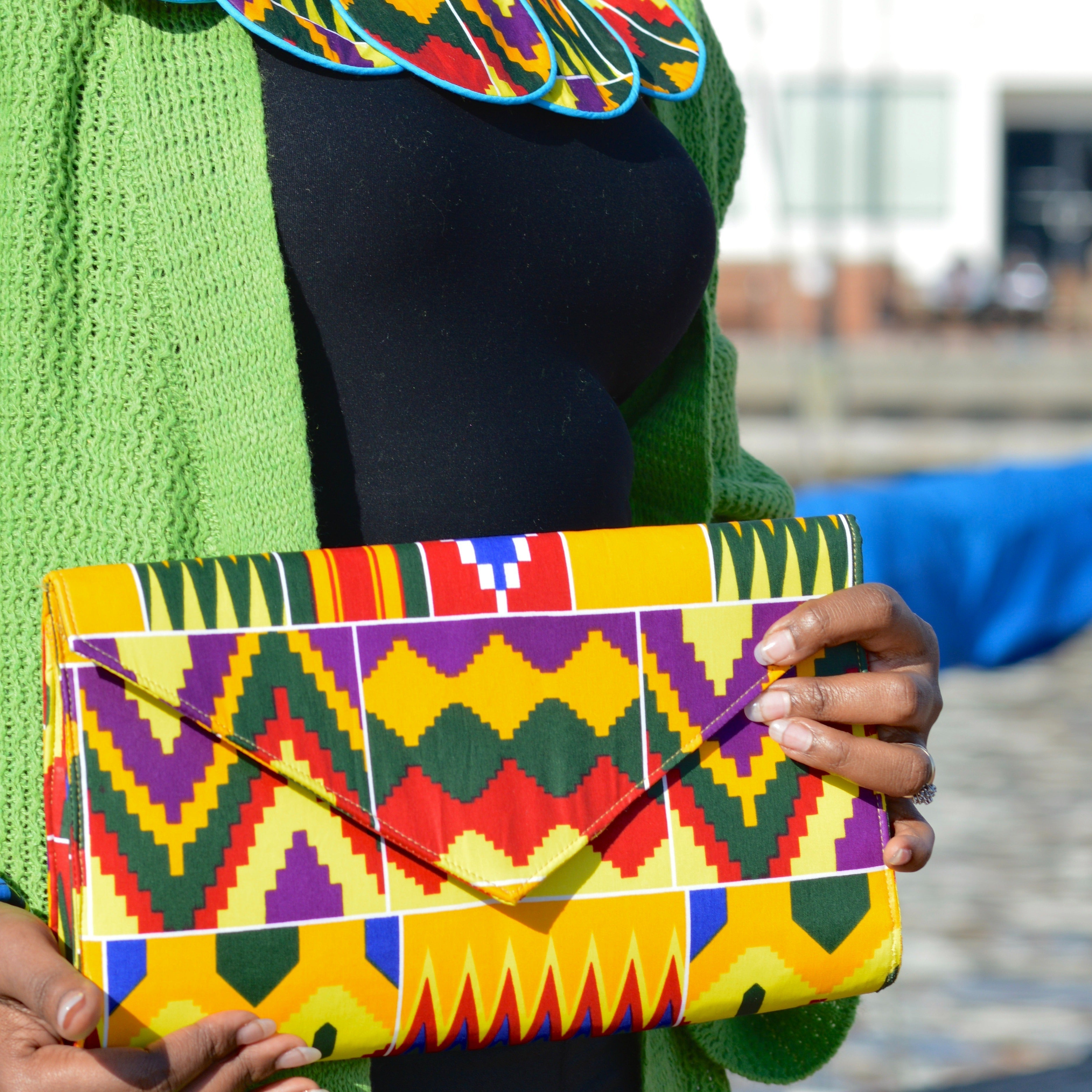 Kente Print Purse & Neck Piece, Afrobeats Collection