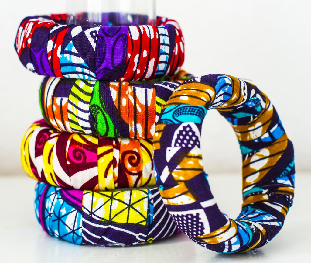 5 Ankara Bangles, Assorted