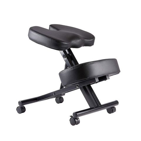 Image of Kneeling Posture Correcting Chair with Orthopedic Back Pain Seat, Faux Leather - Manual Adjust, Helps Prevent Coccyx Pain, Kneeling Chair for Better Posture.