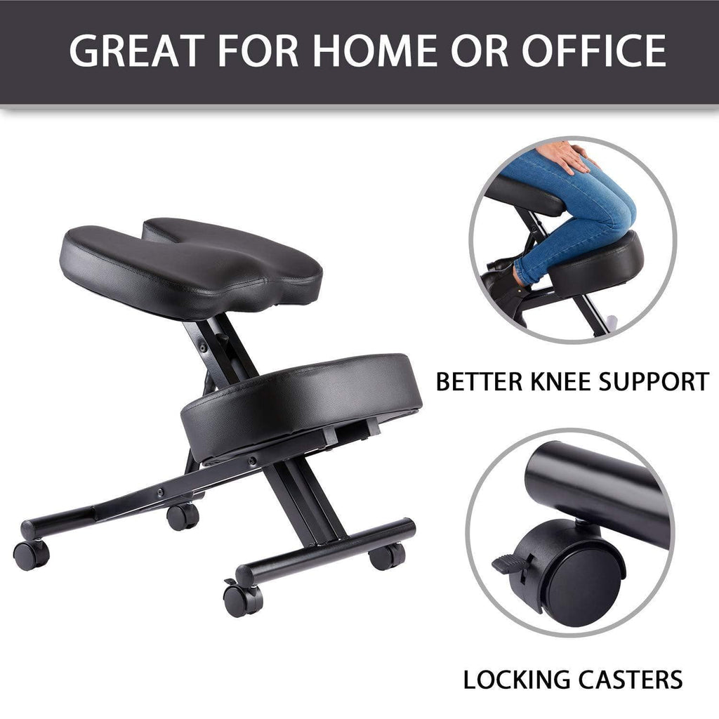 Kneeling Posture Correcting Chair with Orthopedic Back Pain Seat, Faux Leather - Manual Adjust, Helps Prevent Coccyx Pain, Kneeling Chair for Better Posture.