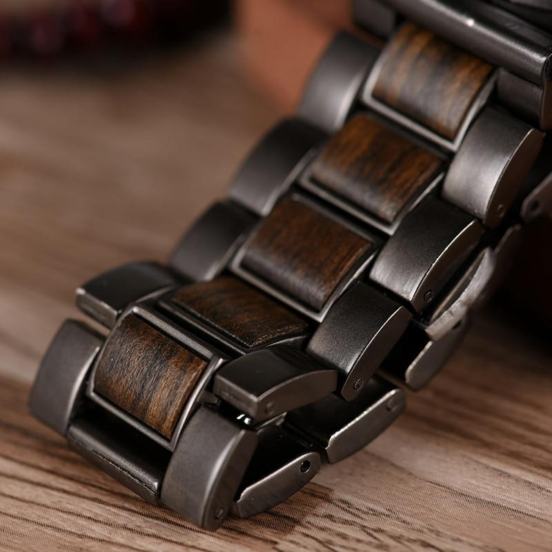 BOBO BIRD Wooden Men Watch Relogio Masculino Top Brand Luxury Chronograph Date Display Stop Watches erkek kol saati W-Q26