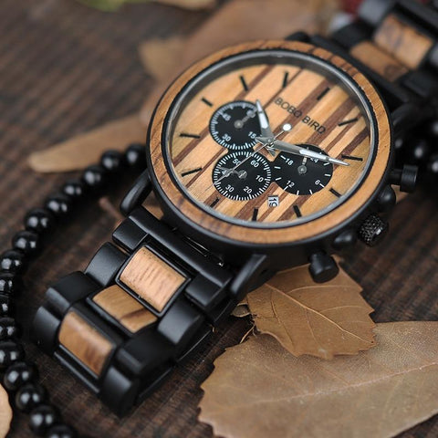 Image of BOBO BIRD Wooden Men Watches Relogio Masculino Top Brand Luxury Stylish Chronograph Military Watch Great Gift for Man OEM