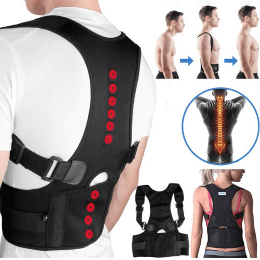 Back Brace Posture Corrector | Best Fully Adjustable Support Brace | Improves Posture and Provides Lumbar Support | For Lower and Upper Back Pain | Men and Women