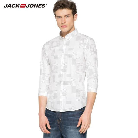 Image of Jack & Jones Brand 2018 NEW COTTON punk style plaid male slim sailor collar three quarter sleeves casual shirts| 216231509