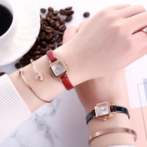 Square Type Elegant Dressing Analog Wrist Vintage Women Quartz Fashion Synthetic Pin Buckle Watches Minimalist Watch Leather