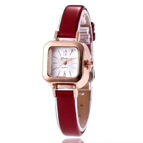 Image of Square Type Elegant Dressing Analog Wrist Vintage Women Quartz Fashion Synthetic Pin Buckle Watches Minimalist Watch Leather