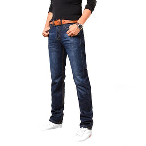 Men's Dark Blue Slim Fit Denim Pants Casual Long Straight Trousers Skinny Jeans