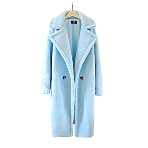 Image of 2018 Teddy Bear Coat Winter Warm Fur Coat jacket  fleece jacket  women faux fur Medium Long Ladies Wool Long High Street