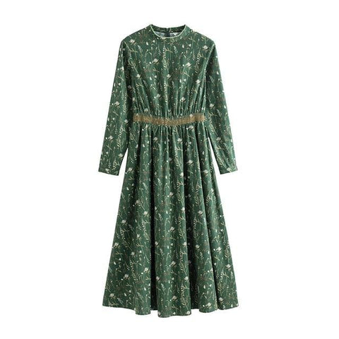 Image of INMAN New Products Women Spring Clothes Stand Collar Printing Embroidered Long Sleeves dress
