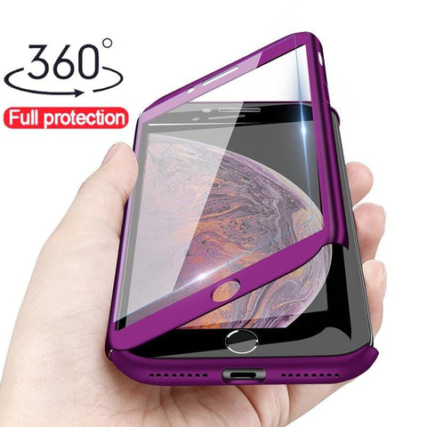 Image of Luxury 360 Full Protection Phone Case For iPhone XS MAX XR X Coque Case For iPhone 6 6s 7 8 Plus Case 5 5S SE Cover Glass