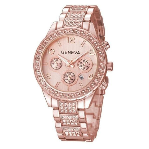 Image of Luxury Iced Out Pave Floating Crystal Quartz Calendar Rose Gold Stainless Steel Watch Girls Gold ladies Hot Sale Flowers brand