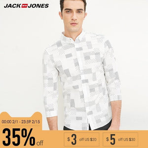 Jack & Jones Brand 2018 NEW COTTON punk style plaid male slim sailor collar three quarter sleeves casual shirts| 216231509