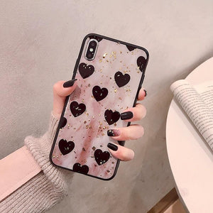 VZD  intage gold foil love for iphoen x/xs mobile phone case for 8plus iphoen XSmax/xr tide female iphone7/6s