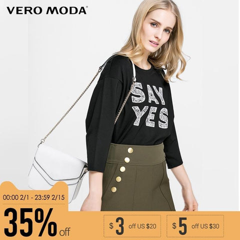 Image of VERO MODA Brand 2018 NEW regular casual three quarter sleeves O-neck female fashion shirts |316130029