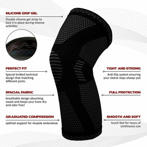 Image of Knee Sleeve | Best Knee Compression Sleeve Brace | Knee Support For Joint Pain Arthritis Relief | BUY 1 GET 1 FREE!!