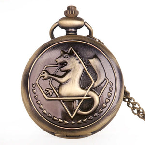 Full Metal Alchemist Edward Elric Cosplay Quartz Pocket Watch with Pendant Necklace