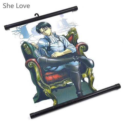 Anime Attack on Titan Levi Painting Hanging Wall Scroll Poster - TheAnimeSupply